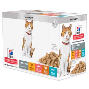 Hills Science Plan Adult Sterilised Delicious Selection Cat Vådfoder12x85g