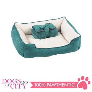 Pet Bed w/Blanket & Bone - Green
