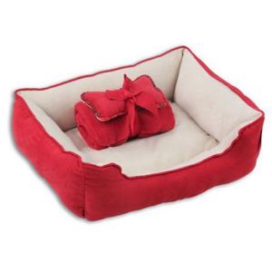 Pet Bed w/Blanket & Bone - Red